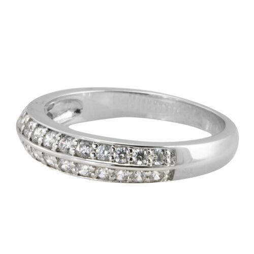 Sterling Silver Cocktail Ring 5mm wide 2 row CZ Band AAA Cubic Zirconia
