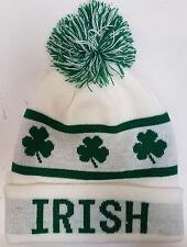 St. Patricks Day - IRISH - WHITE Skull Hat with Tassle and Clovers
