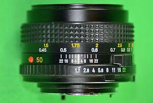 VINTAGE MINOLTA 35mm CAMERA LENS MD 50mm 1:1.7 FAST PRIME STANDARD MANUAL FOCUS