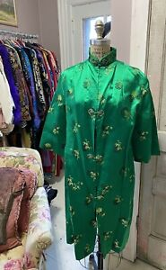 Vintage Sparkly Floral Jacket 60s Frog Knot Closures Glitter Fabric Asian 70s