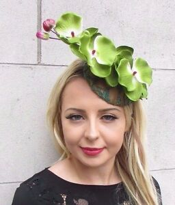 Gold Lime Green Orchid Flower Fascinator Hat Races Clip Elastic Hair Unique 3420