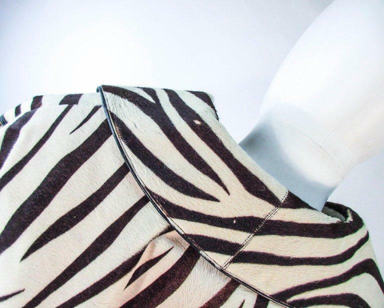 AMEN WARDY Zebra Pattern Cowhide Coat Size 4-8 - image 12