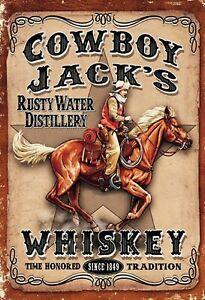 Cowboy-Jack-039-s-Whisky-1849-Panneau-Metallique-Plaque-Voute-en-Etain-20-X-30-CM