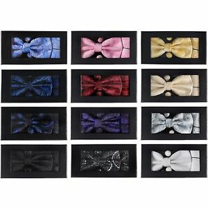 Men-039-s-Boys-Satin-Bow-Tie-Cufflinks-amp-Pocket-Handkerchief-Gift-Box-Set-Paisley
