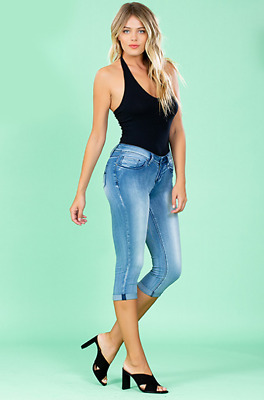 YMI Jeans Juniors Luxe Cuffed Flood Jeans ~ NWT ~ Medium Wash ~ STYLE F95587