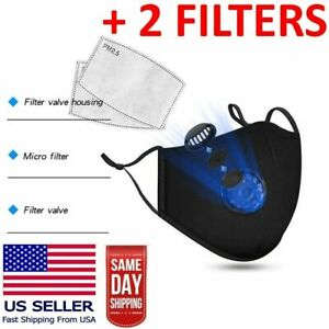 Reusable Washable Cloth Face Mask with Air Valve + PM2.5 Carbon Filter (Black)