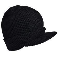 Black Wool US Jeep Cap - Kids Size Army Soldier Woollen Hat Peak Wooly American