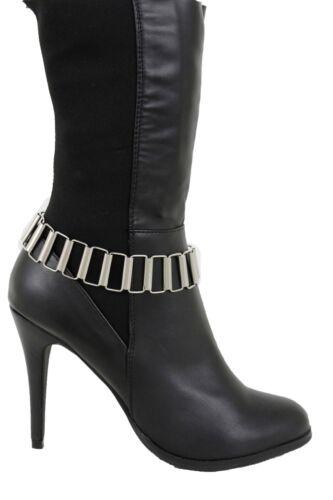 Western Women Silver Metal Chain Boot Bracelet Shoe Square Links Charm Strap Fun