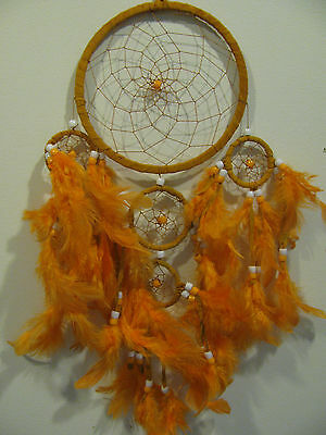 Native American Dream Catcher With Feathers and Beads, Suede, 16cm Web