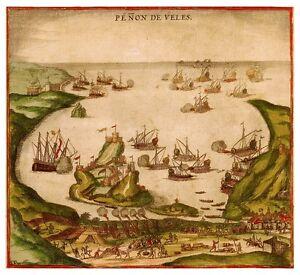 Penon-de-Velez-de-la-Gomera-Africa-bird-039-s-eye-view-map-Braun-Hogenberg-ca-1575
