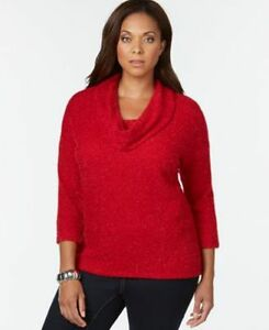 Style Co Plus Size Cowl-Neck Metallic Sweater New Red Amore 3X