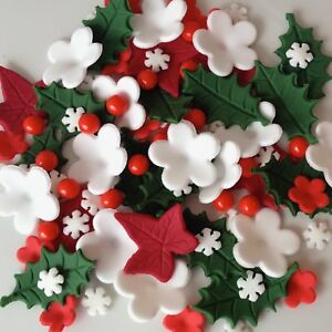 Edible Cake Decorations Holly Leaves : CHRISTMAS CAKE TOPPERS Edible Sugar Paste Flowers Cup Cake ...