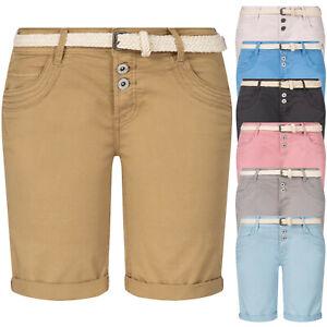Stitch & Soul Short Bermuda Damen kurze Hose Sommer Chino Jeans mit Gürtel OM183