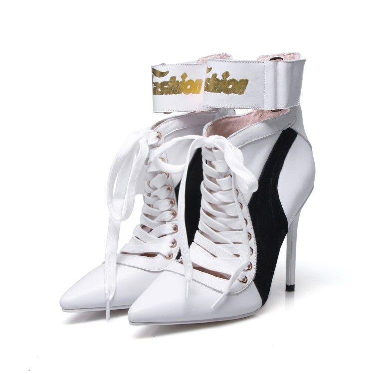 Mujer Gladiador Puntera Puntiaguda botas al al al Tobillo acordonadas Calzado Tacón Alto Aguja Patty 4cbbfa