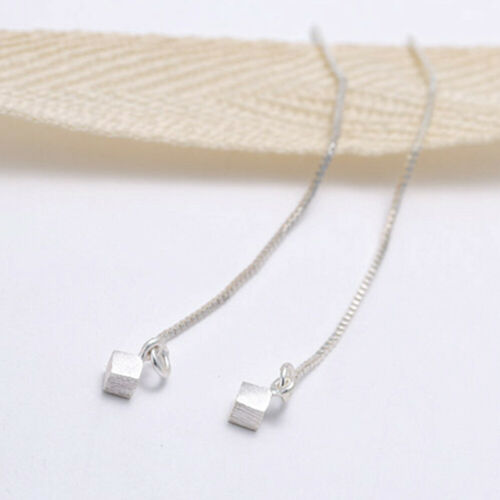 925 Sterling Silver Simple Brushed Pull Through Threader Cubic Dangle Earrings