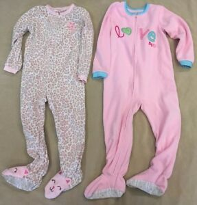 9eb2a2b825a7 Carters 4T Pajama Lot Fleece Winter Footies Cat Valentine Love Pink ...