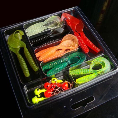35Pcs Soft Worm Lure Lure Set   10 Lead Head Jig Hooks Fishing Baits Set Tackle