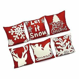 Ustyles 6pcs Christmas Pillow Covers 18 X Decorations Pillows Decorative Throw C