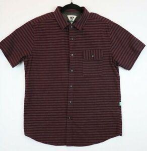 Vissla-Mens-Size-Medium-Button-Front-Short-Sleeve-Shirt-Striped-Maroon