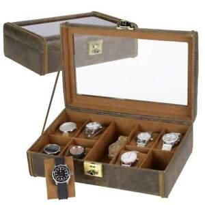 Friedrich-Uhrenkasten-Leder-Uhrenbox-Uhrenschatulle-fuer-8-Uhren-Cubano-braun