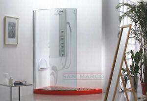 Cabina Box Doccia Da Bagno Vetro Fisso Open Space Walk In Vetro 8