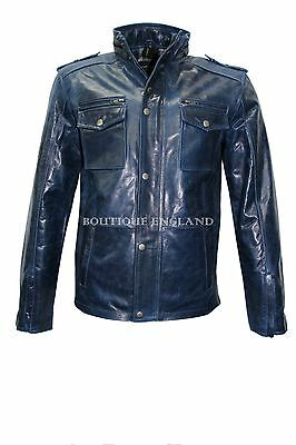 'TROJAN' Men's Washed BLUE GLAZE Biker Style Motorcycle  Real Leather Jacket