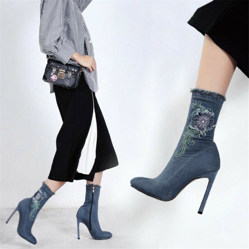 Donna Donna Donna Elegant Denim Ankle Pointed Stivali embroidery Pointed Ankle   ce8595