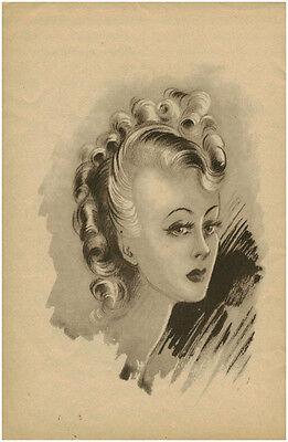Publicité ancienne Portrait Femme Coiffure Mode  Année 40  No 11
