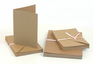 50-x-Klappkarten-amp-Briefumschlaege-Kraftpapier-12-7x17-8cm-BRAUN-Doppelkarten