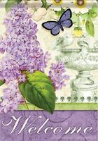 Mini Flag - Lilac Elegance welcome Lilacs Butterfly 2 Sided 13x18 Garden Flag