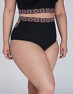 Lane Bryant Black Aztec Trim Swim Bottom Size 28
