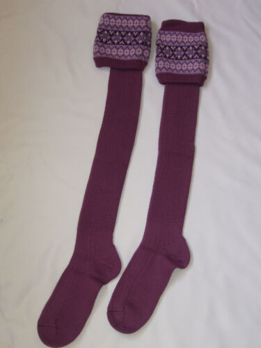 Femmes Jacquard Long Laine Chaussettes 4 Tige//Marche//Ride Dark Lilas Tailles SM//MED
