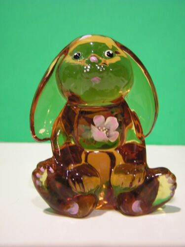 LENOX FENTON AMBER, THE LITTLE GOLDEN BUNNY Art Glass NEW in BOX made in the USA