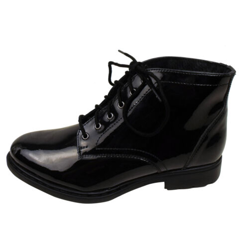 Dilly Office Combat Cheville Chaussures Verni Dally Cuir Bottes Femmes 7wzqUPq