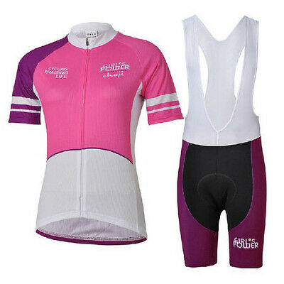 Pink Gril Cycling Bike Short Sleeve Clothing Set Bicycle Women Jersey Bib Shorts