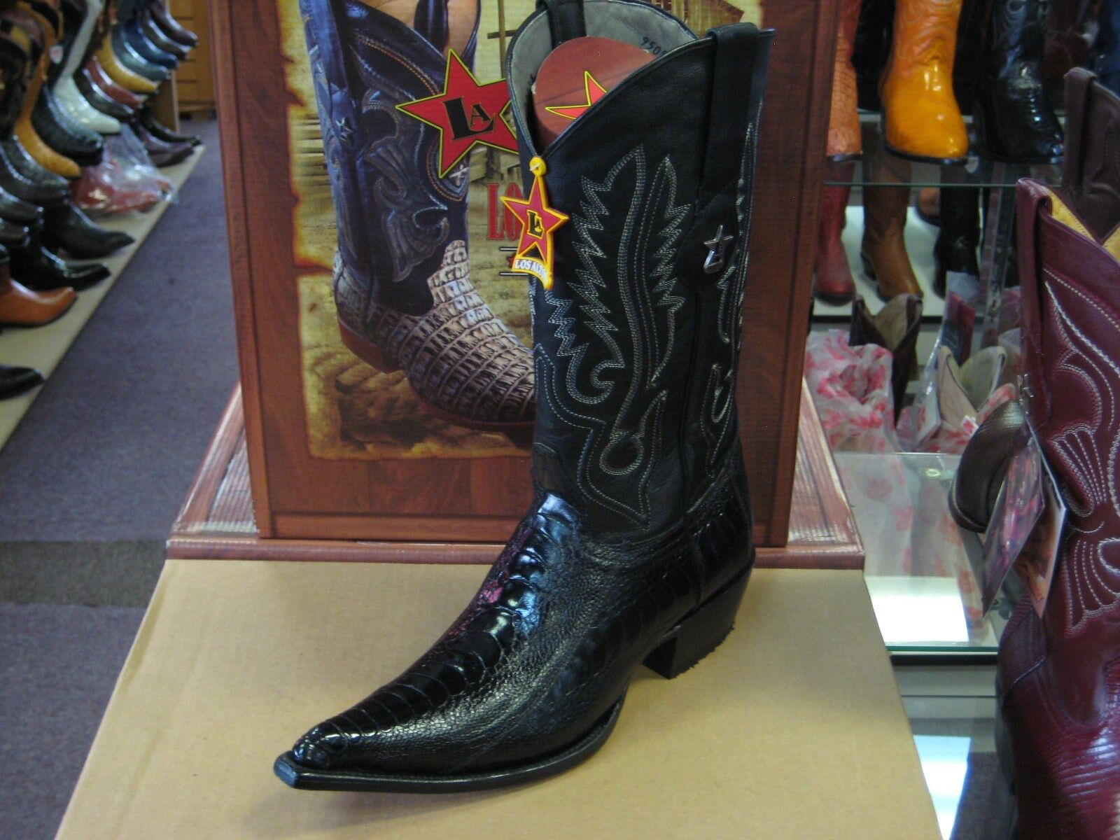 LOS ALTOS BLACK 3X-TOE GENUINE OSTRICH LEG WESTERN COWBOY BOOT (EE) 95EV0505