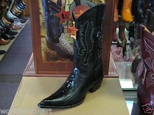 LOS-ALTOS-BLACK-3X-TOE-GENUINE-OSTRICH-LEG-WESTERN-COWBOY-BOOT-EE-95EV0505