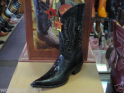 LOS ALTOS BLACK GENUINE SNIP TOE OSTRICH LEG WESTERN COWBOY BOOT EE+