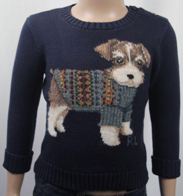 Ralph Lauren Baby Boy Infant Navy Puppy Dog Sweater Size 18 Months