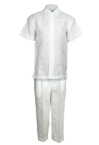 Infant White 100/% Linen Set Floral Embroidered Shirt /& Pants Sizes 12M to 24M