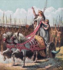 Boadicea Boudica British Iceni Celtic Army Chariot Warriors 5x5 inch Print