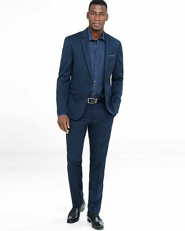 NEW EXPRESS  NAVY EXTRA SLIM INNOVATOR WOOL BLEND TWILL SUIT PANT SZ 31 30