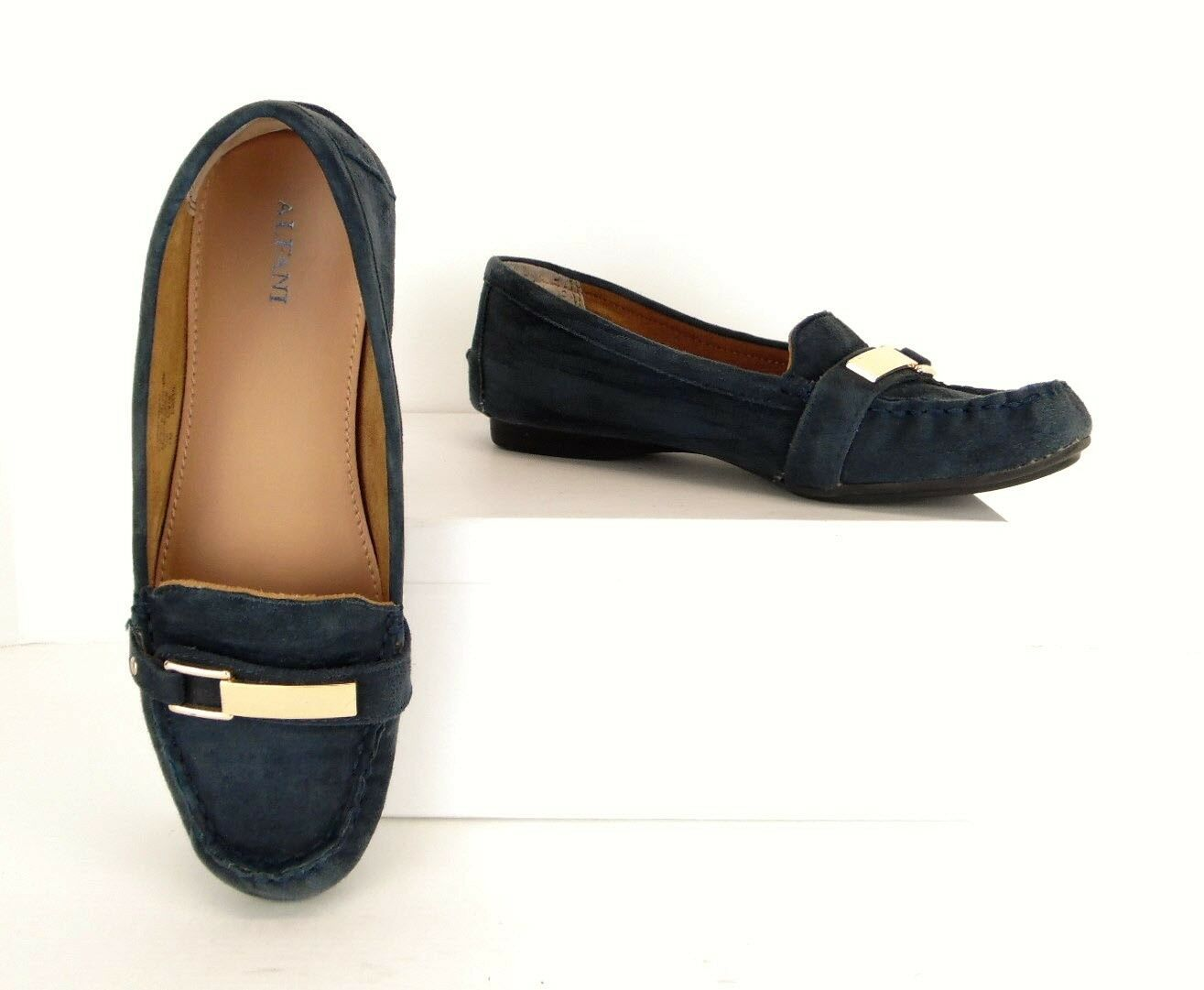 Alfani Girra bluee Suede Leather Slip On Loafers Flats Casual Women's 7 M (S169)