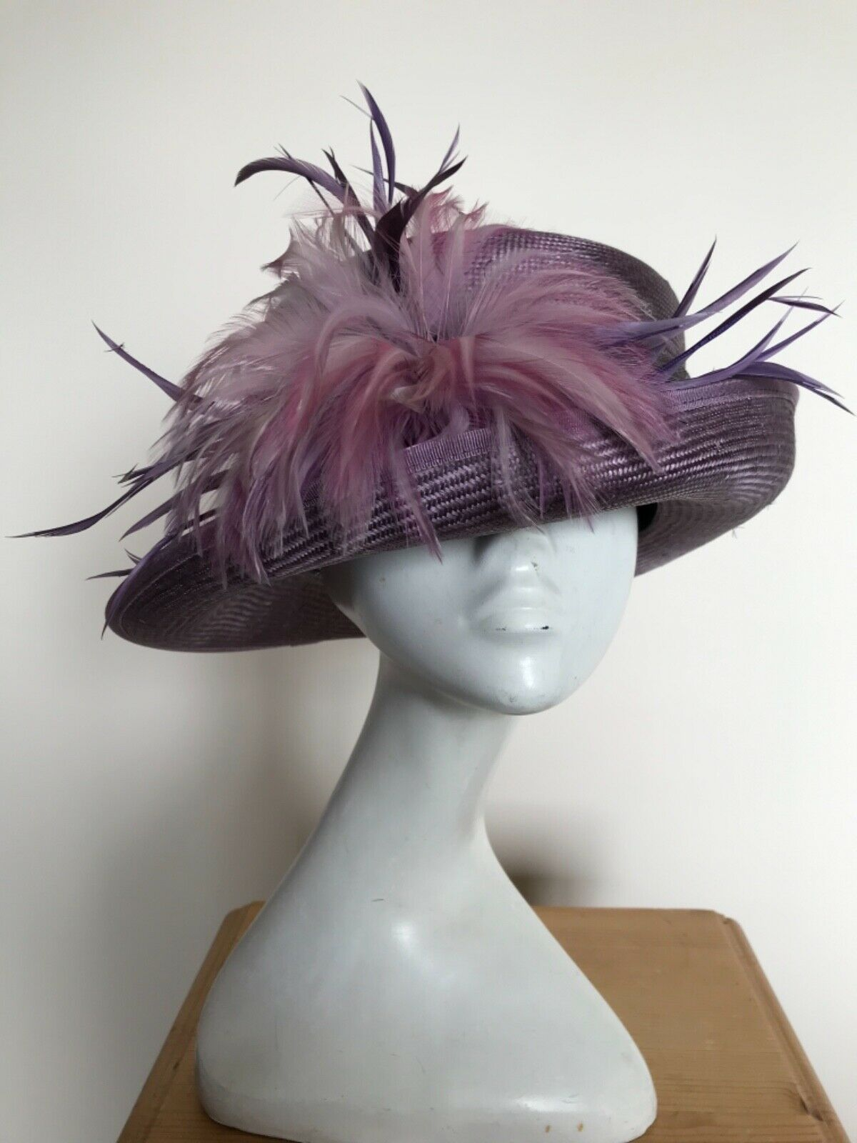 Purple Hat with Small Brim By Gold with Feather Trim - Wedding, Races