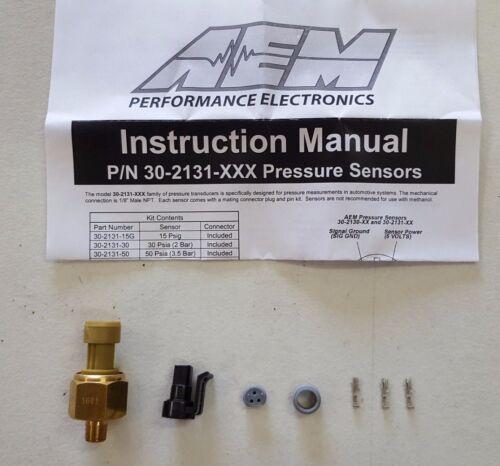"AEM Power 150 PSI Oil Fluid Pressure Brass Sensor Kit /& Connector 1//8/"" NPT New"