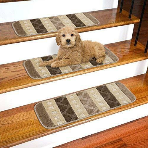 "Ottomanson SST1078-9X26 Softy Striped Carpet Stair Treads, 9"" x 26', Brown"