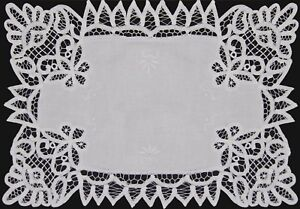 Battenburg-Lace-White-Fabric-Placemat-Hand-Embroidery-12x18-034-or-14x20-034