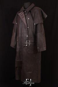duster marron homme v ritable skipper cuir pleine longueur long duster trench coat ebay. Black Bedroom Furniture Sets. Home Design Ideas
