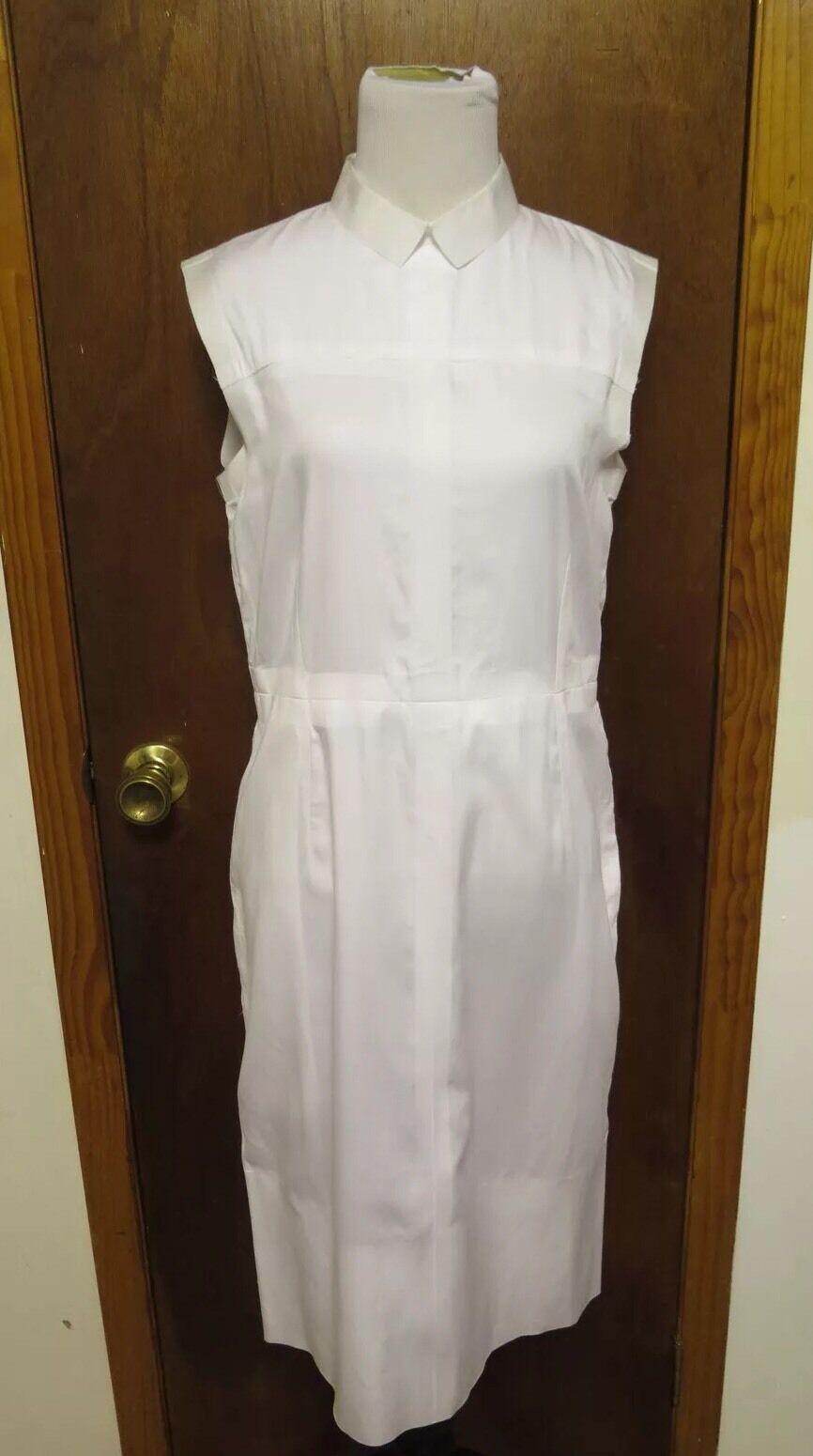 Celine Crisp White Contrast Cotton Sleeveless Shift Dress Sz 40 S Philo