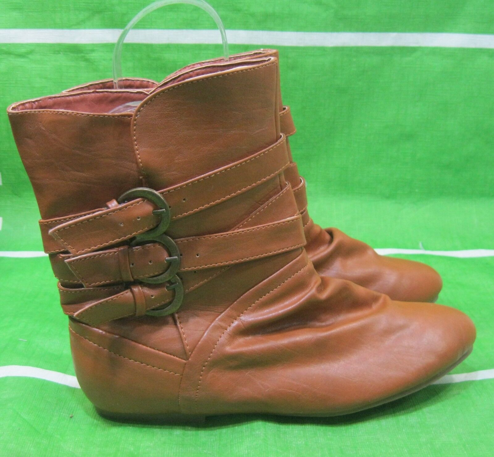 NEW LADIES  Tan Flat  Round Toe  side buckles  Sexy Ankle Boots Size 7